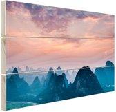 Berg horizon Hout 30x20 cm - klein - Foto print op Hout (Wanddecoratie)