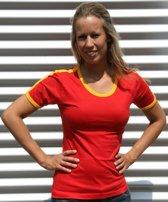 Rood met geel dames t-shirt XL