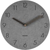 Wall clock Dura korean wood light grey