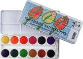 Water Colour set 12 kleuren napjes aquarel aquarelverf met mengwit tube transparante waterverf