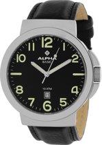 ALPHA SAPHIR - 123A - Horloge -  Leder - Zwart - 42 mm