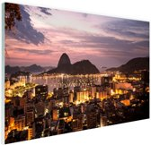 FotoCadeau.nl - Rio de Janeiro in de avond Glas 180x120 cm - Foto print op Glas (Plexiglas wanddecoratie)