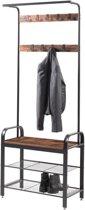 Staande Design Garderoberek  met Kapstok en Schoenenrek | 183cm hoog - 72cm breed | Zwart