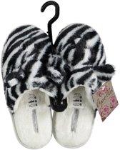 Instap sloffen/pantoffels zebra met oortjes voor dames - Zwart/witte slippers voor dames 37-38