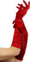 Rode lange glanzende handschoenen