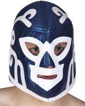 Blauw worstelaar masker voor volwassenen - Verkleedmasker