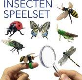 Insecten figuren speelgoed set, vinger ring bug, vergrootglas, libelle, vlinder, sprinkhaan, bij, lieveheersbeestje, cicade, realistische fantasiespel speelgoed 6 stks