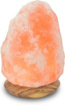 Himalaya Salt Dreams lamp himalaya zout houten voet - 180mm hoog - oranje