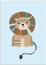 Kinderkamer poster Leeuw DesignClaud - Indianen Stijl Kleurrijk - A3 poster