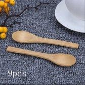 Dessertlepels - Bamboe - 9 stuks - 13 cm