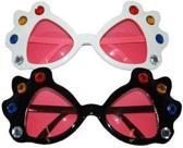 Grote bril met diamanten en roze glazen  Zwart