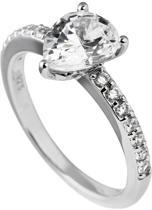 Diamonfire - Zilveren ring met steen Maat 17.5 - Solitaire druppelvorm - Bezette band