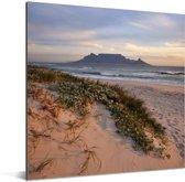 Strand en de zee met op de achtergrond de Tafelberg Aluminium 50x50 cm - Foto print op Aluminium (metaal wanddecoratie)