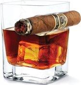 Whiskey glas - Whiskey glazen - Met sigaarhouder