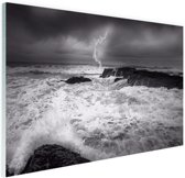 Storm op zee  Glas 30x20 cm - klein - Foto print op Glas (Plexiglas wanddecoratie)