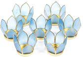 Set van 7: Lotus sfeerlicht klein blauw goudrand (Ø 8 cm)
