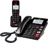 Fysic FX-8025 Bureautelefoon + Dect handpost | De telefoons voor senioren met o.a. SOS alarmknop, Groot verlicht display en (foto)toetsen | Zwart / Rood