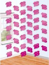 6 String Decorations Pink Shimmer 18 210 cm