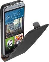 LELYCASE Lederen Flip Case Cover Hoesje HTC One M9 Zwart