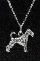 Zilveren Irish terrier met staart ketting hanger - groot