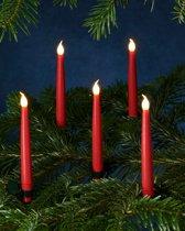 Sirius -  10 stuks rode LED kerstboomkaarsjes met knijper en afstandsbediening