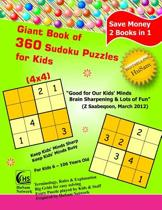 Giant Book of 360 Sudoku Puzzles for Kids ( 4x4 Puzzles )