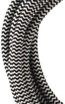 Textiel snoer 3C Zwart/Wit 3 meter