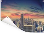 Kleurrijke lucht boven het Empire State Building in New York Tuinposter 160x120 cm - Tuindoek / Buitencanvas / Schilderijen voor buiten (tuin decoratie) XXL / Groot formaat!