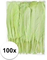 100x Groene decoratie veren 13 cm