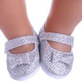 Schoentjes voor Baby born - Zilveren schoenen met strikje - Poppenschoentjes 7 cm