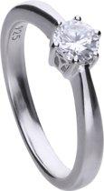 Diamonfire - Zilveren ring met steen Maat 19.5 - Steenmaat 5 mm - Chatonzetting