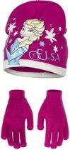 Fel roze Disney Frozen muts en handschoenen set