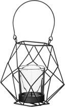 Bloomingville - Waxinelichtjeshouder Graphic - Metaal/Glas - Zwart - D12,5xH12 cm