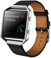 Zwart - Trendy Eco Leer armband bandtje polsband voor Fitbit Blaze