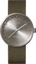 LEFF amsterdam - Horloge - Tube Watch D38 - Staal met Groen Cordura (textiel) band - Ø 38mm - LT71004