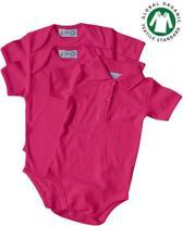 Link Kidswear Babyset Rompertjes set, babyromper korte mouw en romper polo kraag set BIO 100% katoen GOTS, cherry maat 74-80.