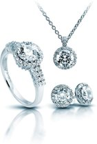 Diamonfire Zilveren sieradenset - Maat 17.5 - Ring, Collier, Oorbellen