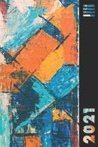 2021: Orange & Blue Abstract Weekly Calendar Planner Organizer