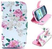 iCarer Flowers print wallet case hoesje Samsung Galaxy S3 mini