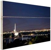 Skyline Washington DC bij nacht Hout 160x120 cm - Foto print op Hout (Wanddecoratie) XXL / Groot formaat!
