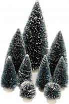 Kerstdorp Kerstbomen - 9 stuks