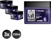 Schwarzkopf Taft Titane Power Haargel - 250 ml - 3 stuks - Voordeelverpakking