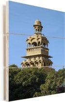 Toren van Mandir Palace Hotel in Jaisalmer Vurenhout met planken 60x90 cm - Foto print op Hout (Wanddecoratie)