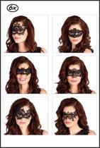 6x Oogmasker Masquerade kant assortie