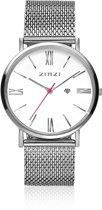 Zinzi Horloge Retro ZIW506M - Zilverkleurig - Ø32mm + gratis Zinzi armbandje