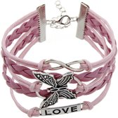 Fako Bijoux® - Multi Armband - Infinity Vlinder Love - Roze