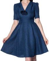 Secretary jurk spijkerstof blauw - S - Dancing days