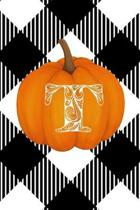 T: Cute Pumpkin Monogram Initial Letter T White Buffalo Plaid Check Personalized Gratitude Journal for Women and Girls