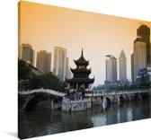 Zonsopkomst over de oude militaire stad Guiyang in China Canvas 60x40 cm - Foto print op Canvas schilderij (Wanddecoratie woonkamer / slaapkamer)