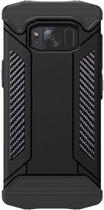 Let op type!! Samsung Galaxy S8 + / G9550 Robuust pantser beschermend TPU + metaal back cover Hoesje (zwart)